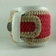 Barn Red and Tan Crochet Coffee Cup Cozie