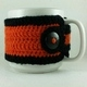 Orange and Black Crochet Coffee Cup Cozie