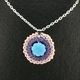 Blue Flower Crochet Pendant
