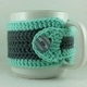 Grey and Teal Crochet Coffee Cup Cozie