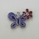 Enameled Butterfly with Flower Charm