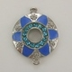 Enameled Flower Connector/Charm - Blue