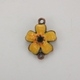 Enameled Flower Connector/Charm - Yellow/Orange