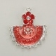 Enameled Flower Fan Charm - Red