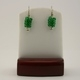 Green Seed Bead Safety Pin Earrings