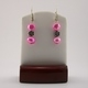 Hot Pink Blister Pearls with Flower Accent Earrings