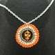 Orange Skull Crochet Pendant
