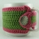 Pink and Green Crochet Coffee Cup Cozie