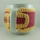 Pink and Yellow Crochet Coffee Cup Cozie