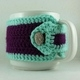 Purple and Teal Crochet Coffee Cup Cozie