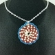 Red, Tan and Blue Crochet Spiral Pendant