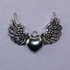 Steampunk Antique Silver Winged Heart Pendant
