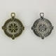 Steampunk Brass & Antique Silver Metal Compass Pendant - Combo