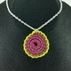 Tan, Pink and Bright Green Crochet Spiral Pendant