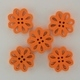Wooden Flower Button/Bead - Orange
