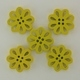 Wooden Flower Button/Bead - Yellow