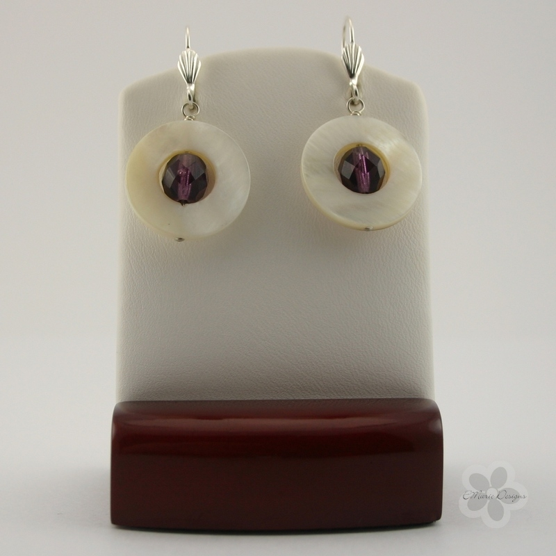 Amethyst and White Mother of Pearl Earrings - Click Image to Close