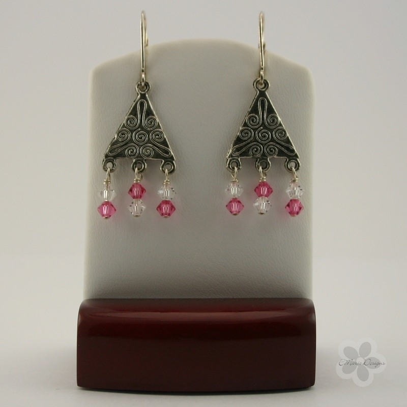 Bohemian Style Rose/Crystal Swarovski Earrings - Click Image to Close