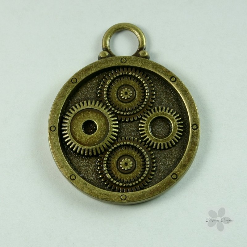 Steampunk Large Brass Gear Pendant - Click Image to Close