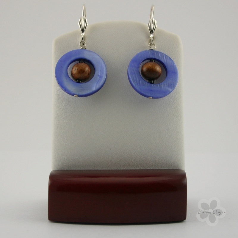 Brown Wood with Blue Mother of Pearl Earrings - Click Image to Close