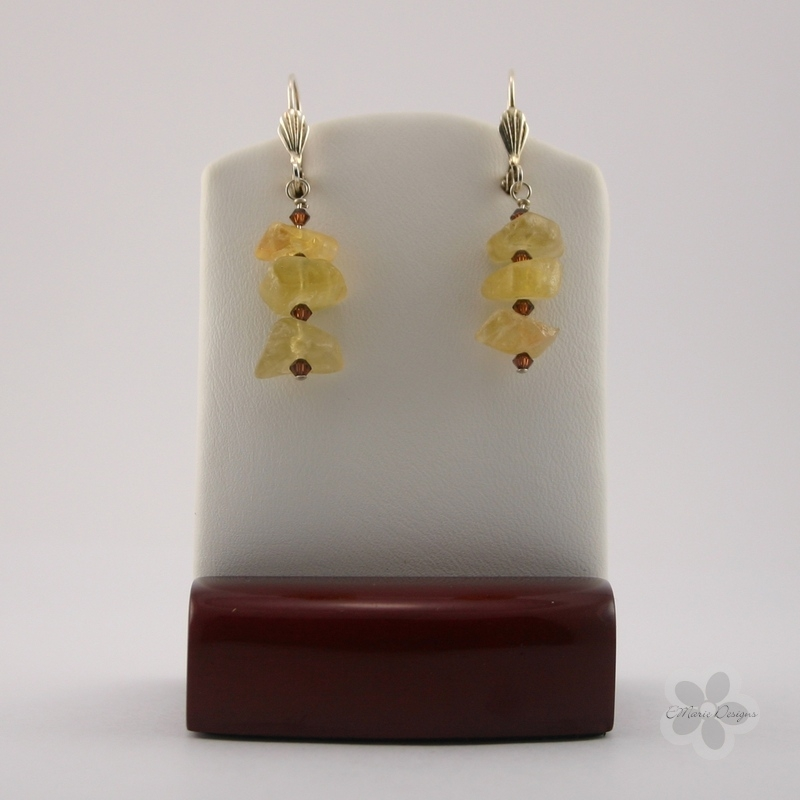 Calcite with Smokey Topaz Swarovski Crystals Earrings - Click Image to Close