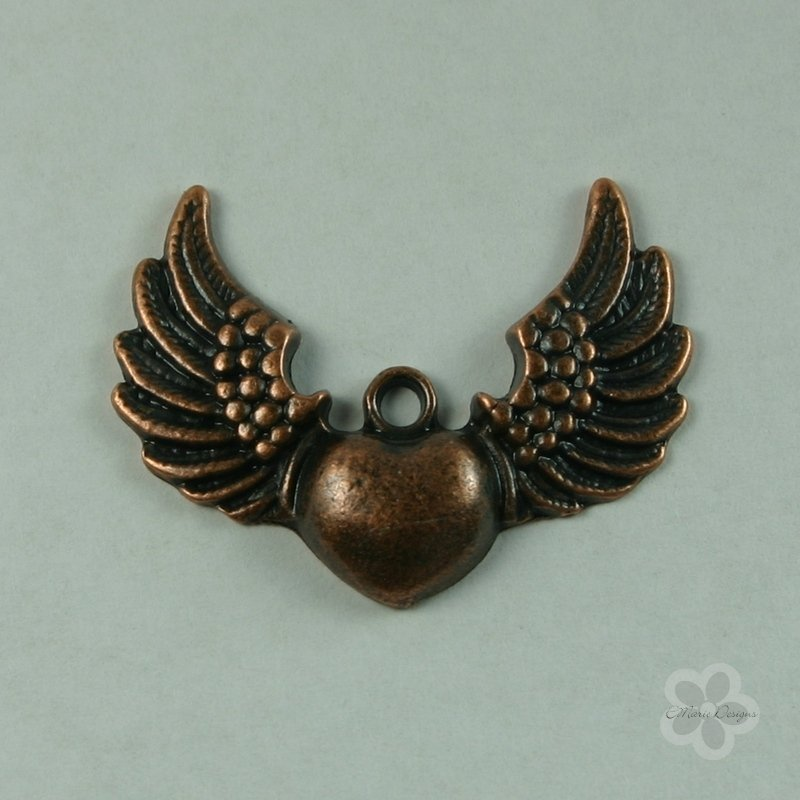 Steampunk Copper Winged Heart Pendant - Click Image to Close