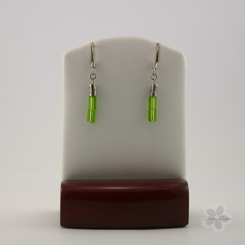 Dainty Green Pressed Glass Earrings - Click Image to Close