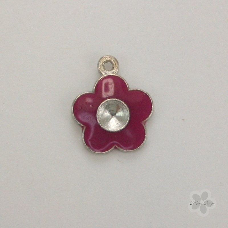 Enameled Flower Charm - Dark Pink - Click Image to Close