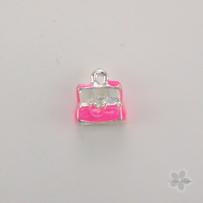 Enameled Jewelry Box Charm - Pink - Click Image to Close
