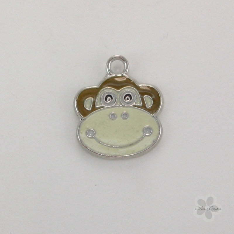 Enameled Monkey Charm - Brown - Click Image to Close