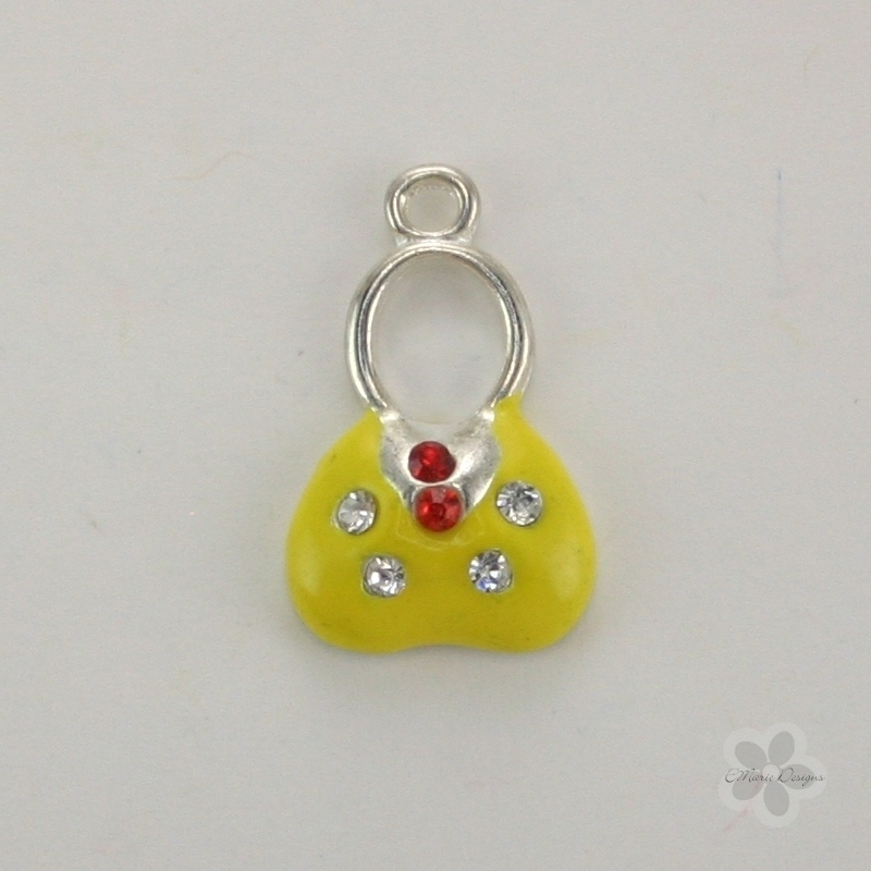 Enameled Purse/Handbag Charm - Yellow - Click Image to Close