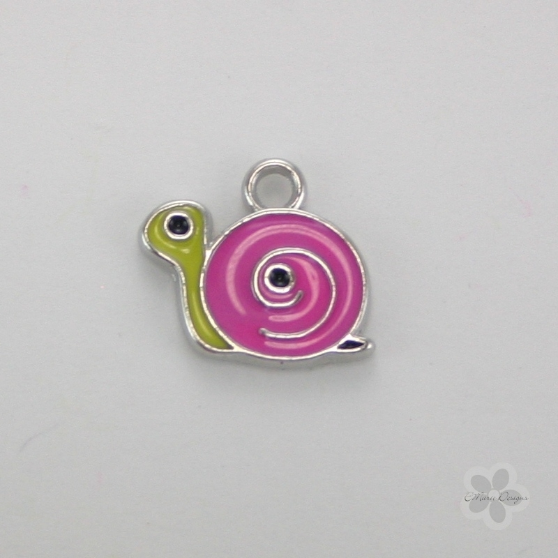 Enameled Snail Charm - Dark Pink - Click Image to Close