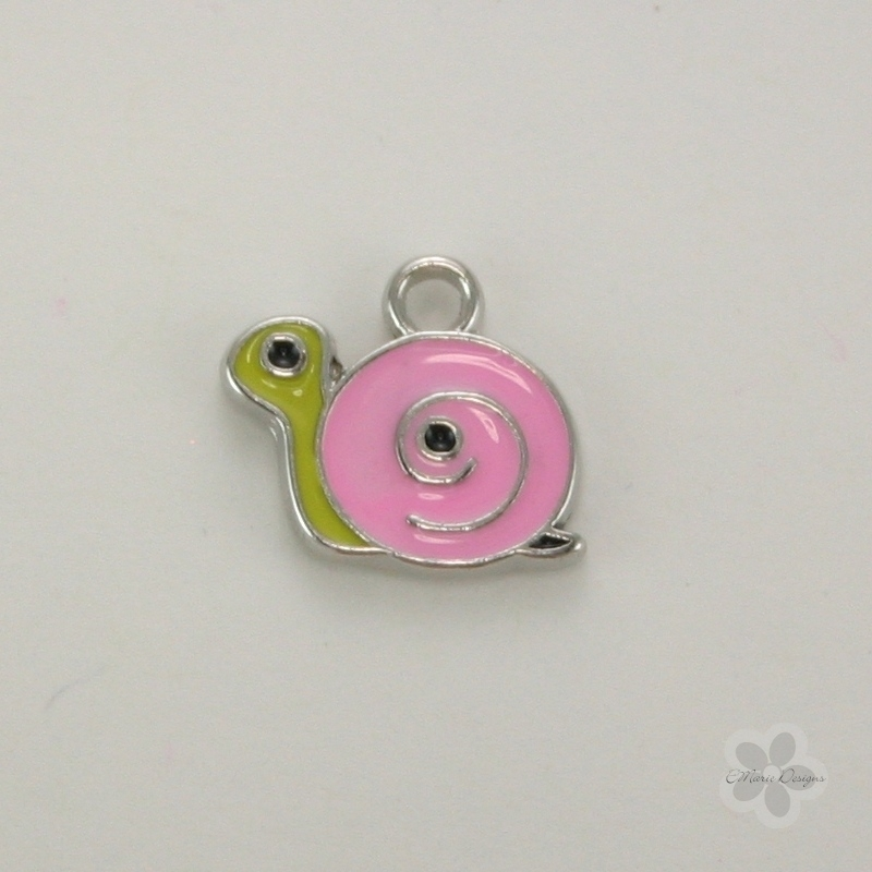 Enameled Snail Charm - Pink - Click Image to Close