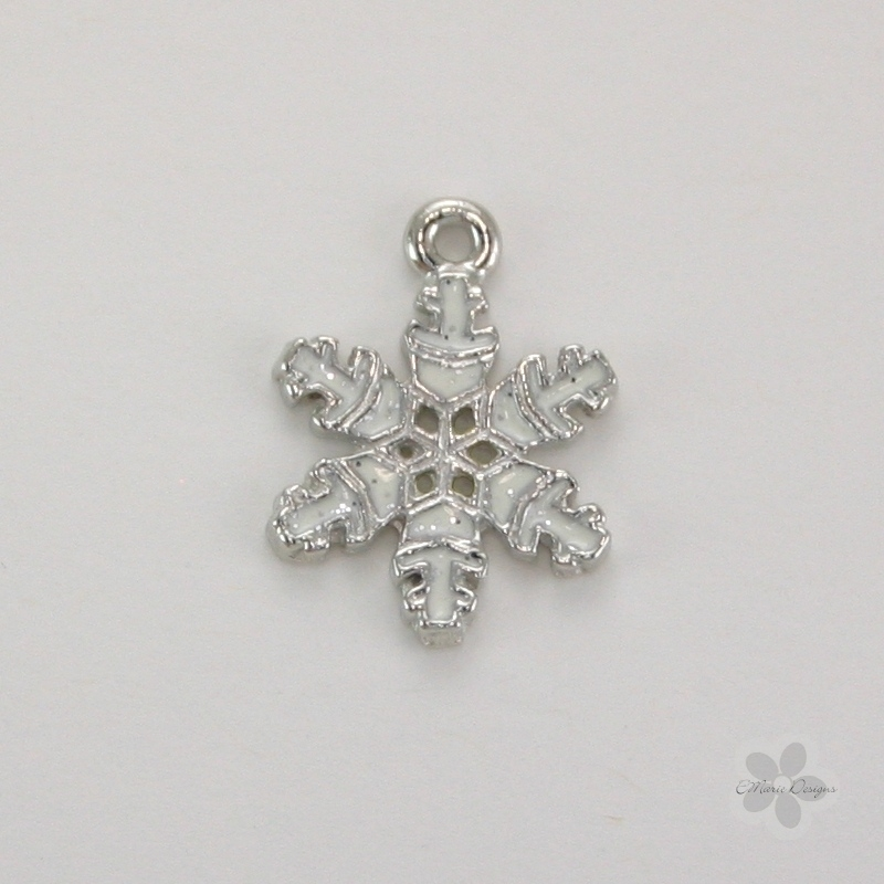Enameled Snowflake Charm - Click Image to Close