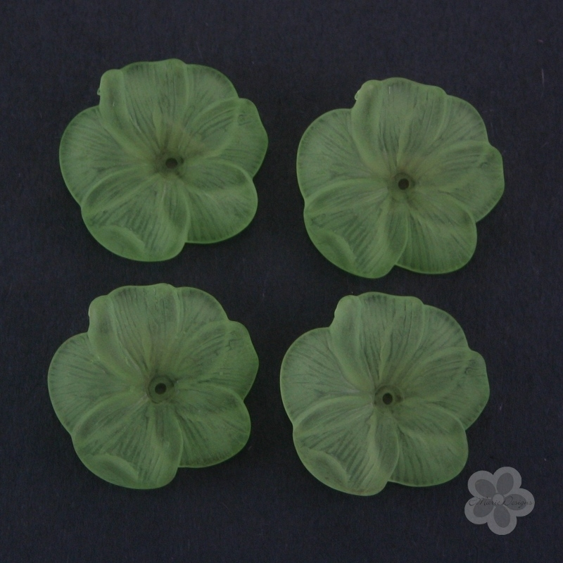 Frosted Acrylic Flower Beads - Green - Click Image to Close