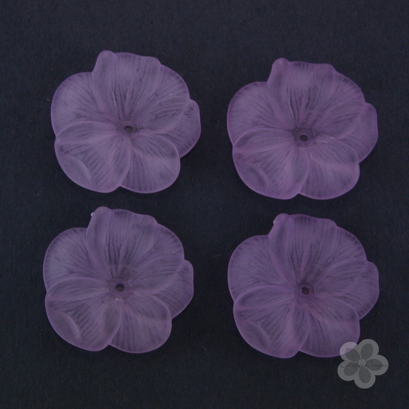 Frosted Acrylic Flower Beads - Purple - Click Image to Close