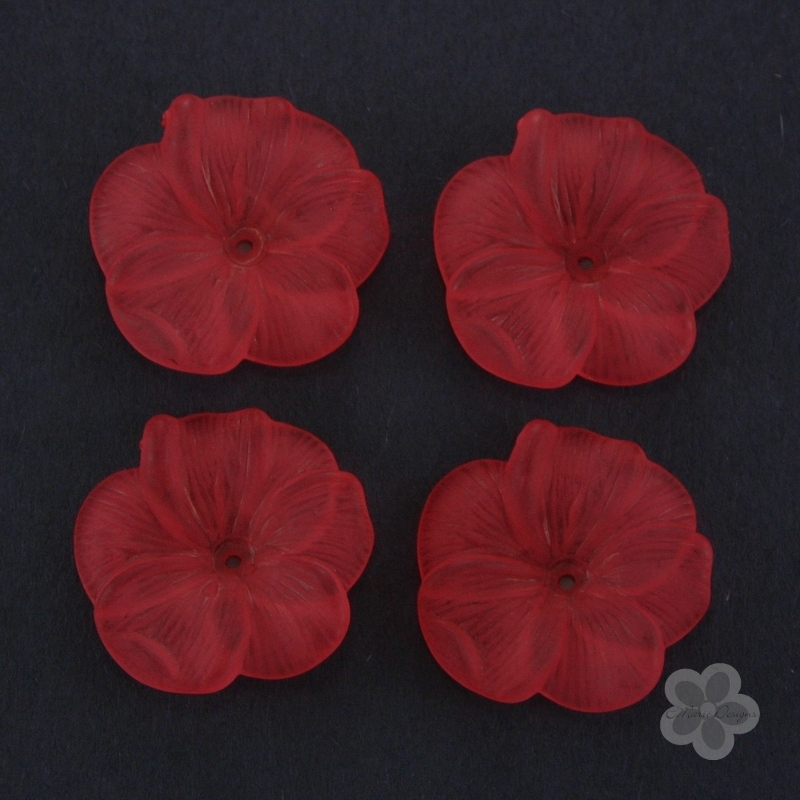 Frosted Acrylic Flower Beads - Red - Click Image to Close