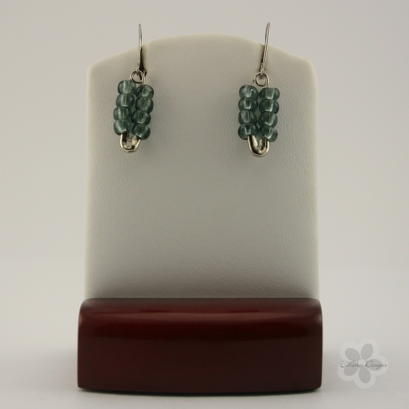 Gray Seed Bead Safety Pin Earrings - Click Image to Close