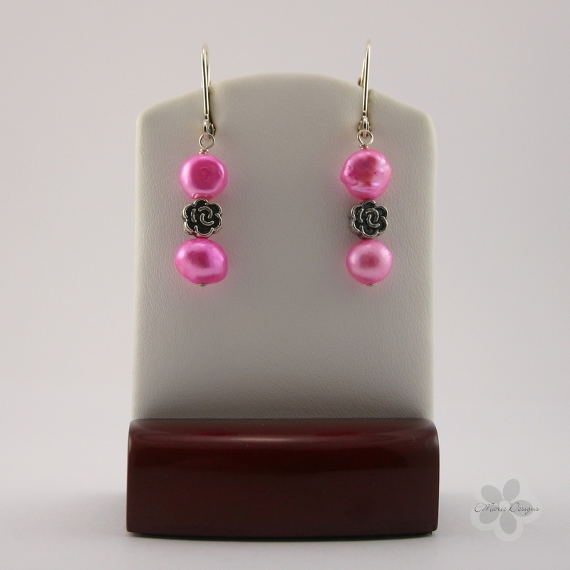Hot Pink Blister Pearls with Flower Accent Earrings - Click Image to Close