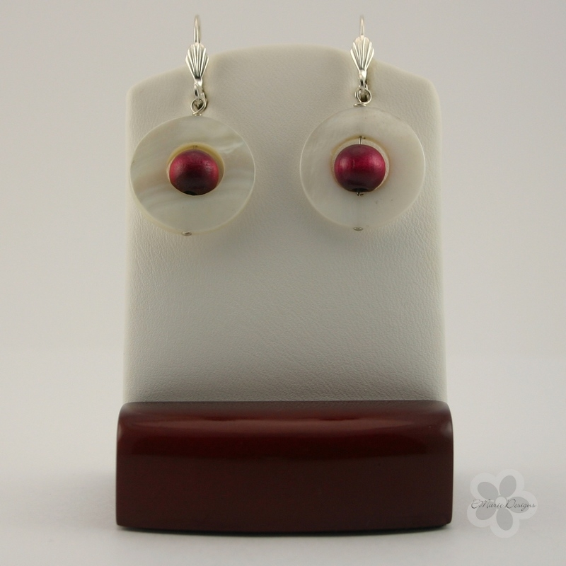 Hot Pink Wood with White Mother of Pearl Earrings - Click Image to Close