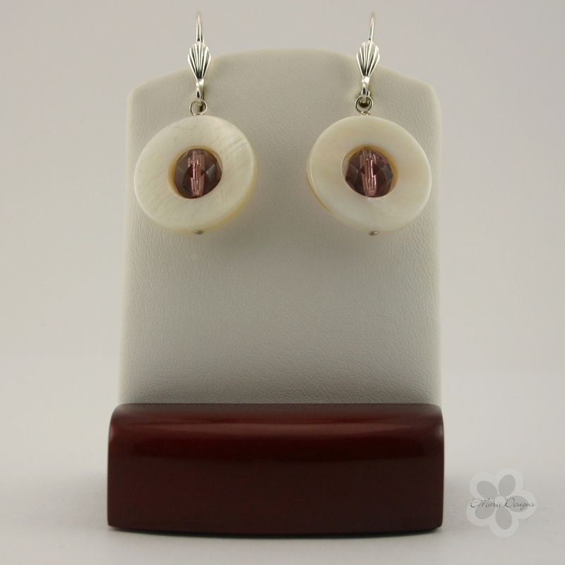 Light Amethyst with White Mother of Pearl Earrings - Click Image to Close