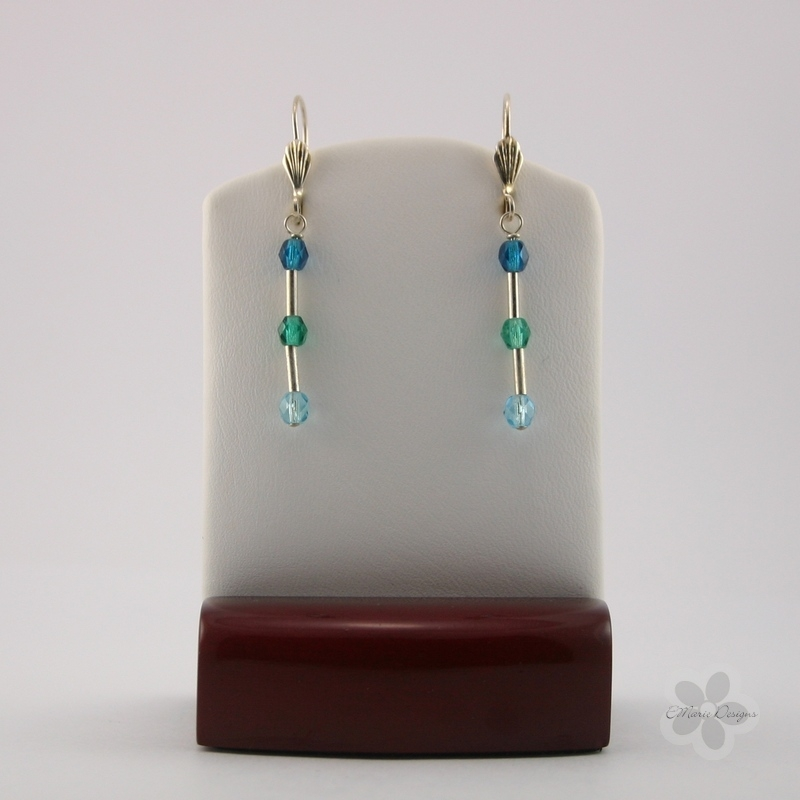 Mod Blue Mix/Silver Tube Earrings - Click Image to Close