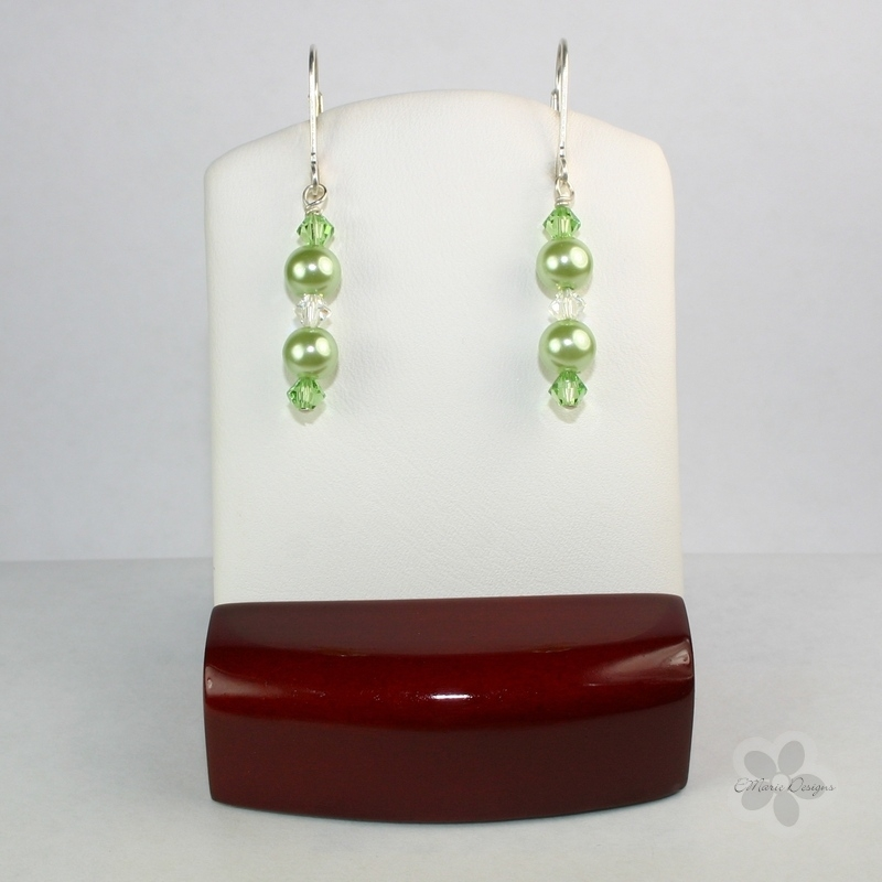 Peridot Pearls with Clear Crystal Swarovski Crystals Earrings - Click Image to Close