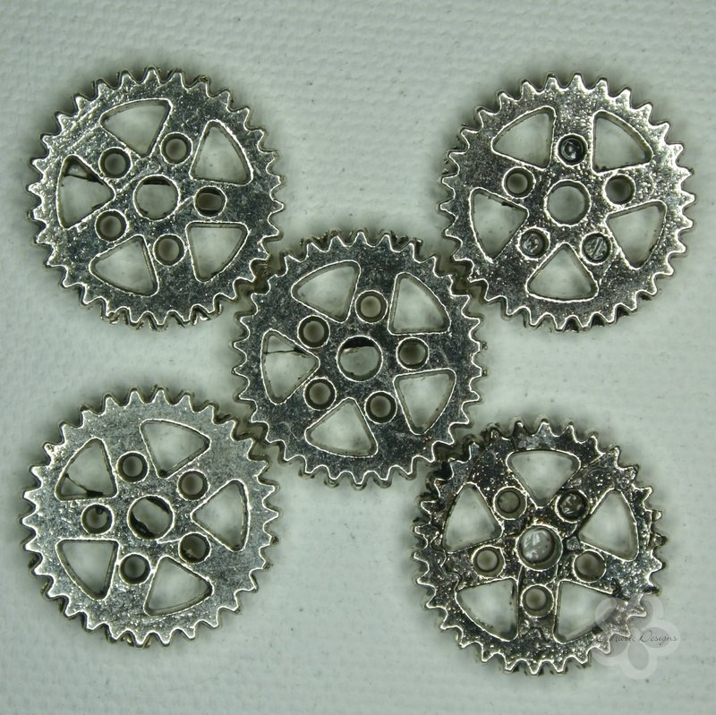 Steampunk Antique Silver Metal Gear Beads - Click Image to Close