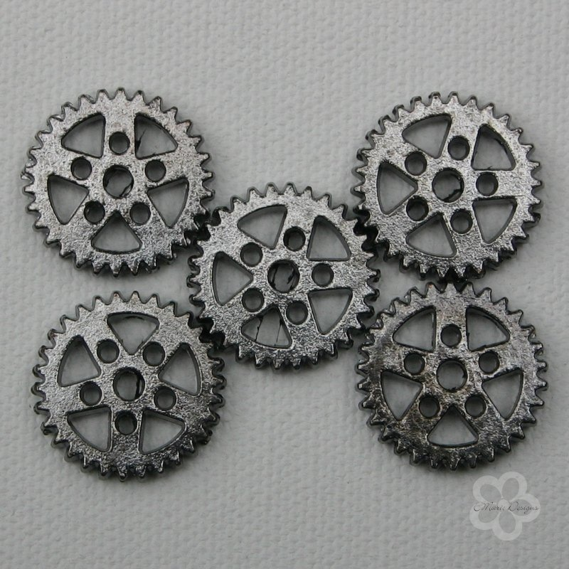 Steampunk Gunmetal Gear Beads - Click Image to Close