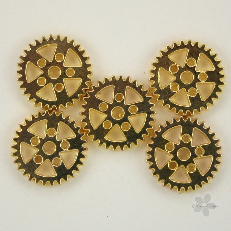 Steampunk Polished Gold Metal Gear Beads - Click Image to Close