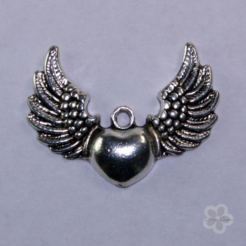 Steampunk Antique Silver Winged Heart Pendant - Click Image to Close