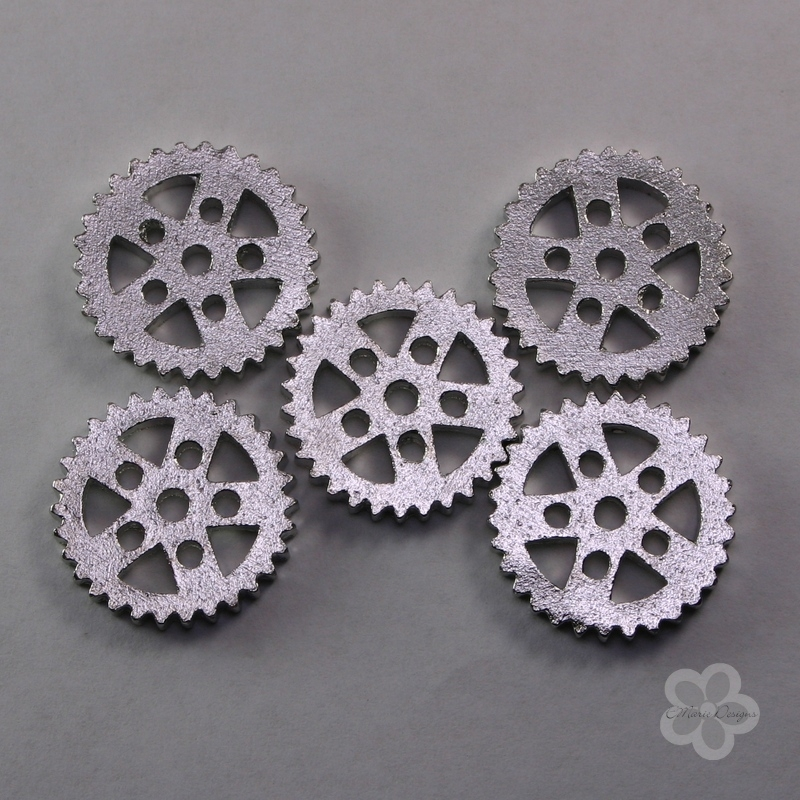 Steampunk Silver Metal Gear Beads / No Holes - Click Image to Close