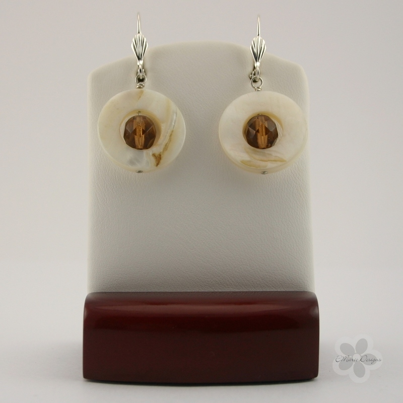 Topaz with White Mother of Pearl Earrings - Click Image to Close