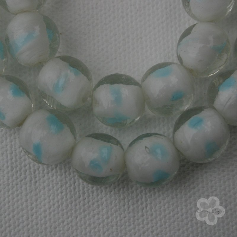 White with Light Blue Accent Glass Lampwork Beads - Click Image to Close